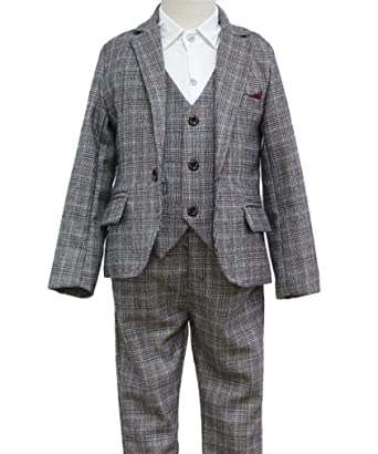 617f61adc Amazon.com  YUFAN Boys Vintage Gray Plaid Suits 3 Pieces Jacket + ...