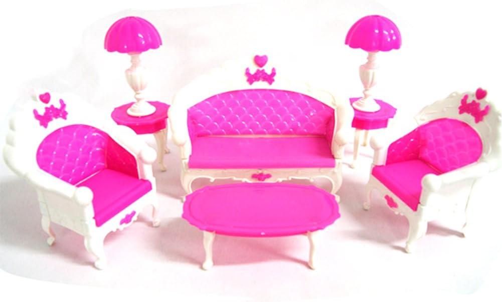 OurKosmos/® Mode Frisiertisch und Stuhl Set f/ür Puppen Schlafzimmer M/öbel 6pcs