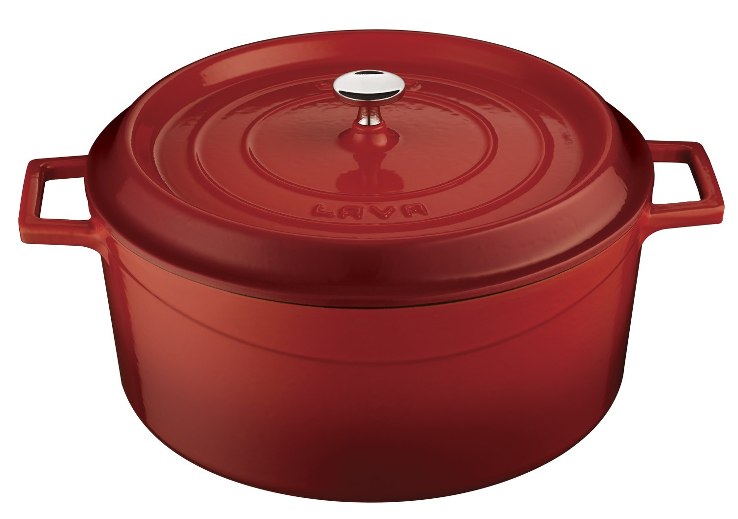 Lava Signature Enameled Cast-Iron Round Dutch Oven - 10-1/2 Quart, Cayenne Red