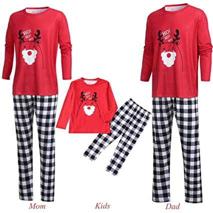 86c5314491 Amazon.com  Men Women Kids Baby Family PJS Matching Christmas Pajamas Set  Cartoon Letter Deer Top+Plaid Pants (3-4 Years