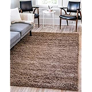 Unique Loom Solo Solid Shag Collection Modern Plush Sandy Brown Area Rug (9' 0 x 12' 0)