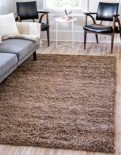 Unique Loom Solo Solid Shag Collection Modern Plush Sandy Brown Area Rug (2' 2 x 3' 0)
