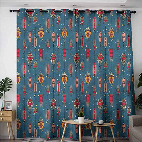 (XXANS Doorway Curtains,Lantern,Mid Autumn Festival Stars,Great for Living Rooms & Bedrooms,W72x84L)