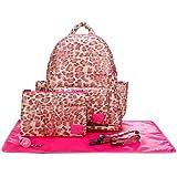 CiPU Baby Diaper Bag - Backpack Diaper Bag - Travel Bag - Changing Pad & Adjustable Buckle - Weightless on Your Shoulder & Waterproof - L Caramel Pink Leopard