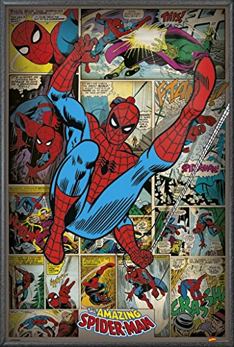 """The Amazing Spider-Man - Framed Marvel Comics Poster / Print (Retro Comic Style Collage) (Size: 24"""" x 36"""") (By POSTER STOP ONLINE)"""