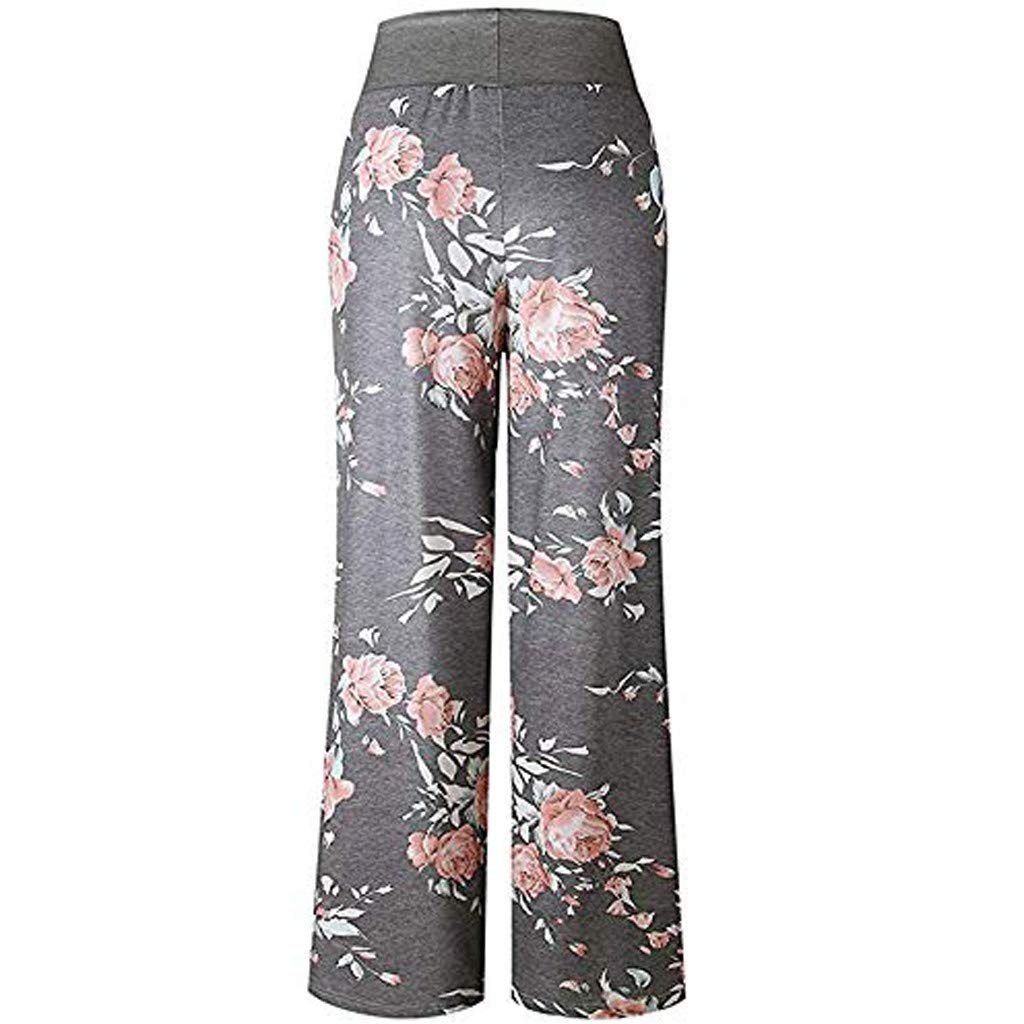 Boho LooseWide Leg Pants Pajama Drawstring Palazzo Yoga Pants Sweatpants EDC/_ Womens High Waist Floral Pajama Pants
