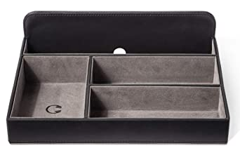 Valet Tray Charging Station For Apple Android Devices & Accessories.Desk Dresser Bedside Stand Tabletop Nightstand Drawer. Holds Jewelry Keys Phone Wallet Watch Etc. Organize With Leather Look. Buxton by Buxton Valet Tray