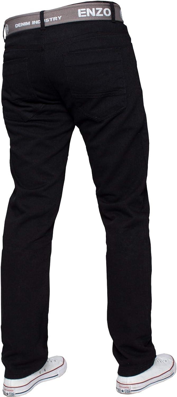 Enzo Mens Straight Leg Belted Jeans Regular Fit Denim Pants Big Tall All Waist Sizes 28-48