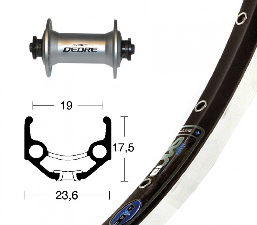 Bike-Parts 28´´ Vorderrad Rigida Zac 19 + Shimano Deore (QR)