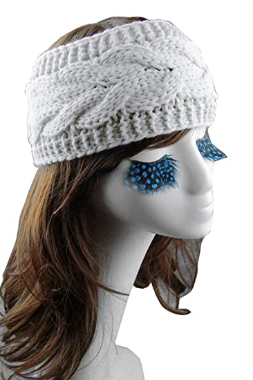 Womens Chunky Cable Knitted Buttons Headband Ear Warmer Head Wrap