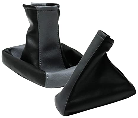Aerzetix Color Pair of gear shift and handbrake levers covers gaiter bellows Beige and black .