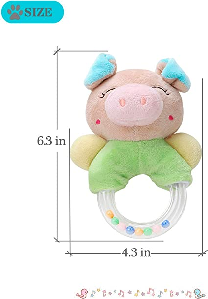 Angle Pig Merveilleux Baby Rattles Cartoon Plush Stuffed Animal Pig Shaker Toy Ring Rattle Newborn Toys