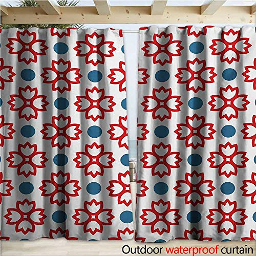 - warmfamily Floral Outdoor Curtain Panel for Patio Abstract European Traditional Polka Dots Symmetrical Natural Inspiration W120 x L96 Slate Blue Red White