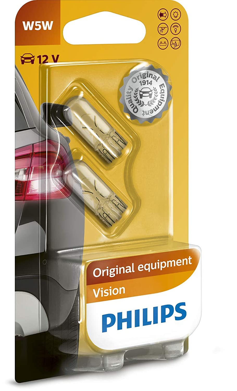 2 unidades Bombilla H6W para luces de estacionamiento lateral y luces de posici/ón Philips 12036B2 Vision