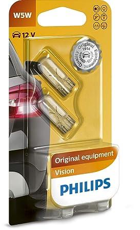 Philips 12961B2 Vision - Bombilla W5W para indicadores (2 unidades): Amazon.es: Belleza