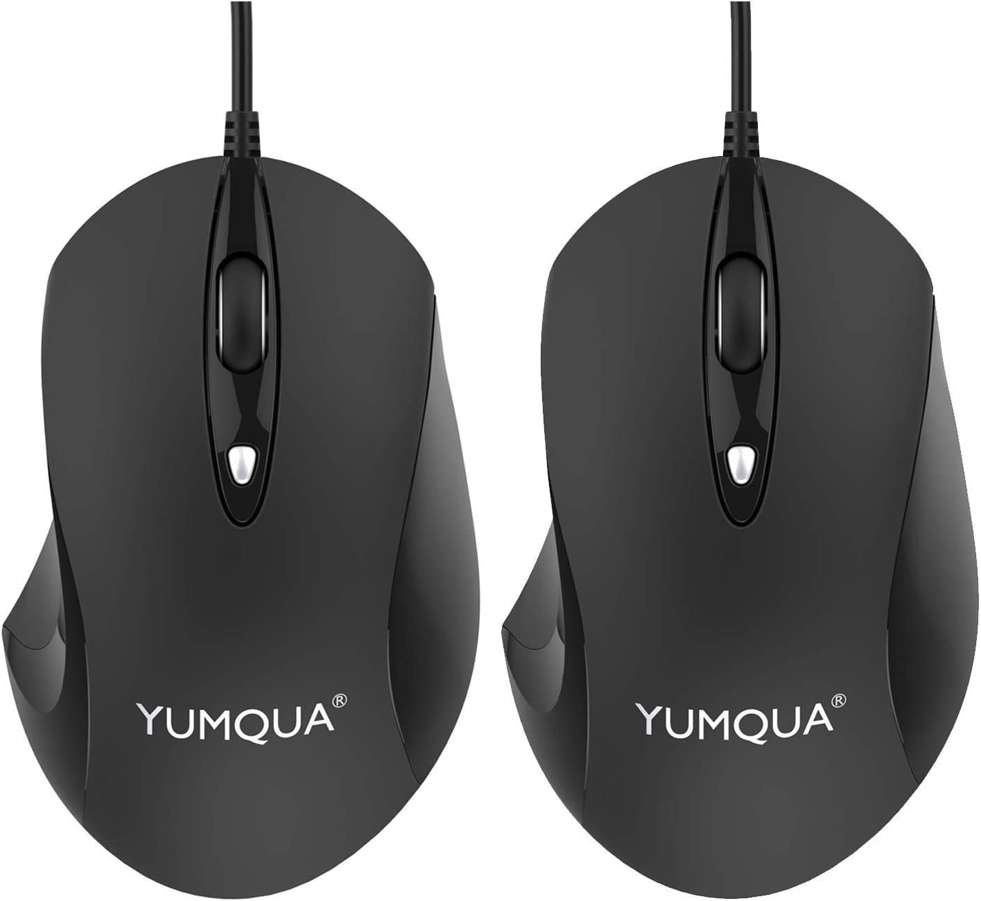 YUMQUA G189 USB Wired Mouse 2 Pack, 4 Adjustable DPI (Up to 1600), Office & Home Optical Computer Mouse for Laptop Chromebook PC Desktop Mac Notebook - Black