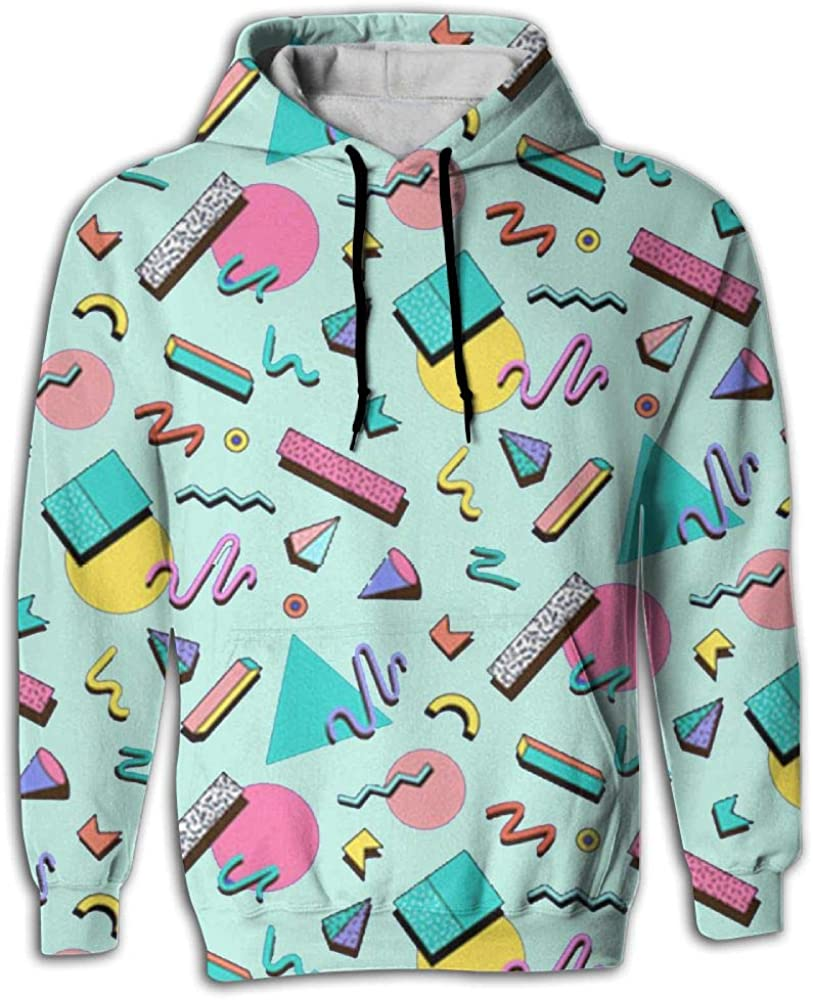 Mens Patterns Print Athletic Sweaters 80s Abstract Geometric Novelty Hoodies Sweatshirts