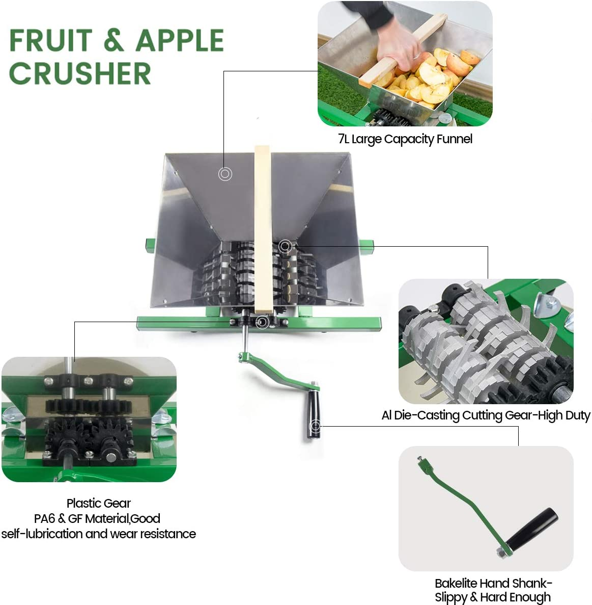 Stainless Steel,1.8 Gallon,Red Fruit and Apple Crusher 7L Manual Juicer Grinder,Portable Fruit Scratter Pulper for Wine and Cider Pressing