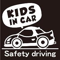 imoninn KIDS in car ステッカー 【シンプル版】 No.49 スポーツカー (白色)