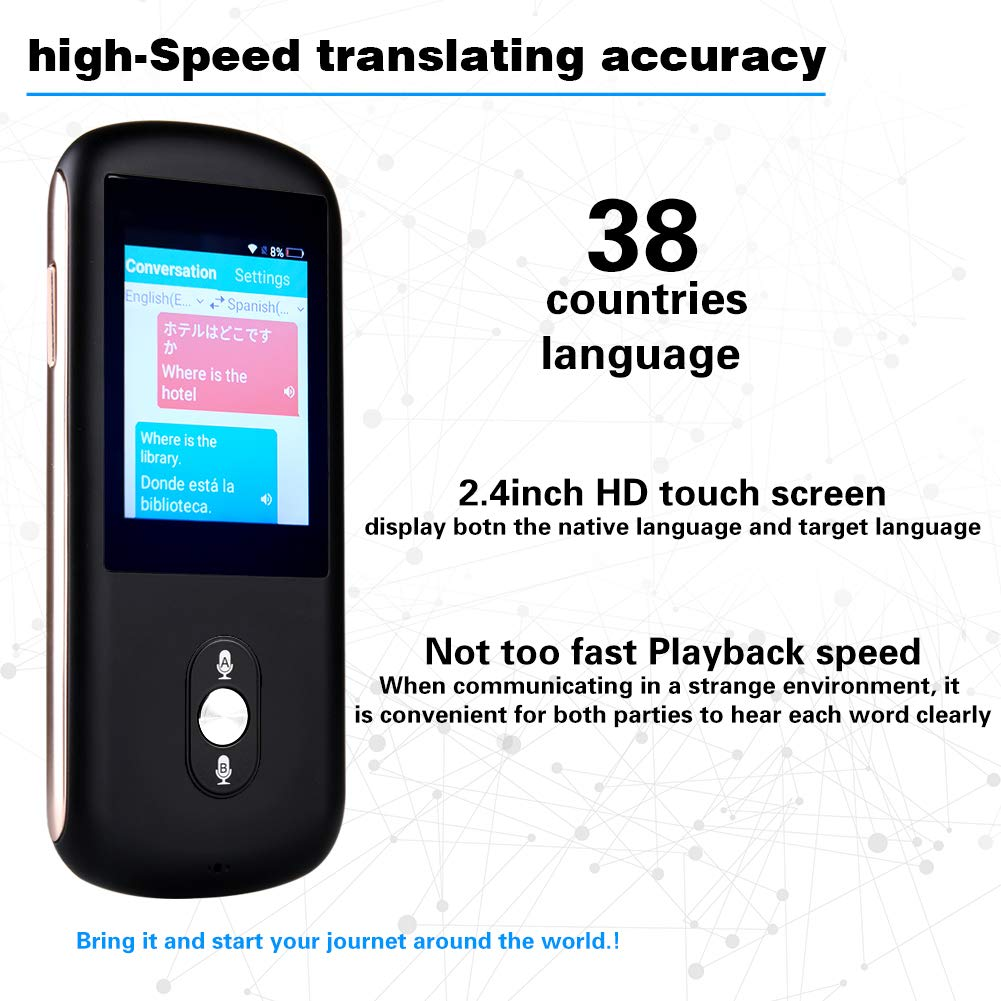 Smart Voice Language Translator Device,Real-time Two-Way Foreign Speech/Text WiFi&4G 2.4 inch IPS Touch Screen Support 38 Languages for Learning Travel Business Shopping English Spanish Etc(Black) by Da Xian (Image #2)