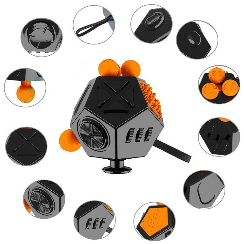 Fidget Cube12 Sided Fidget Cube dice AUERTU Occupational and Physical Therapy,Relieves Stress Anxiety Toy Increases Focus and Attention for Children and Adults with ADHD ADD OCD and Autism