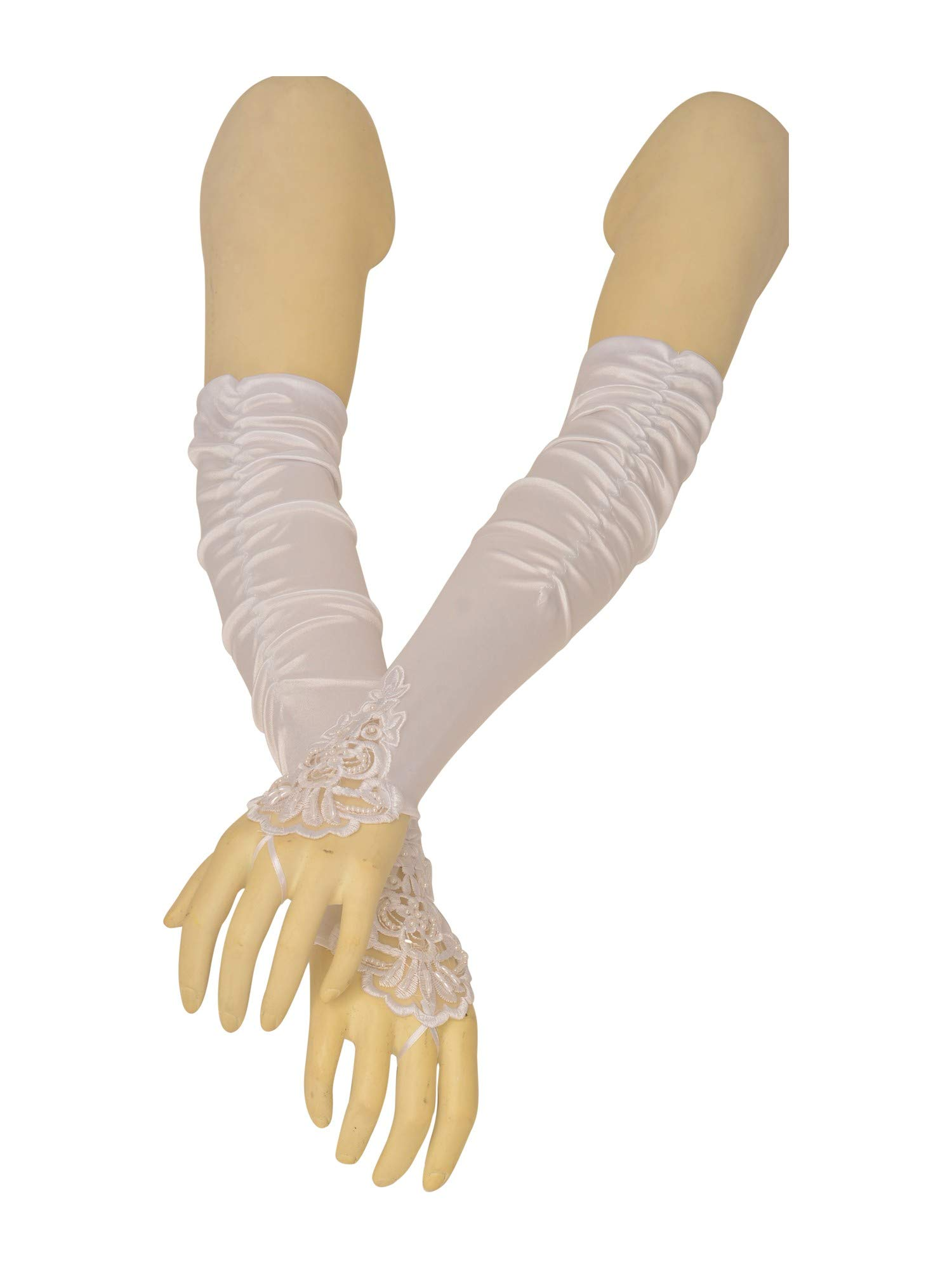Big Girls Adult White Fingerless Pleaded Satin Lace Flower Girl Gloves