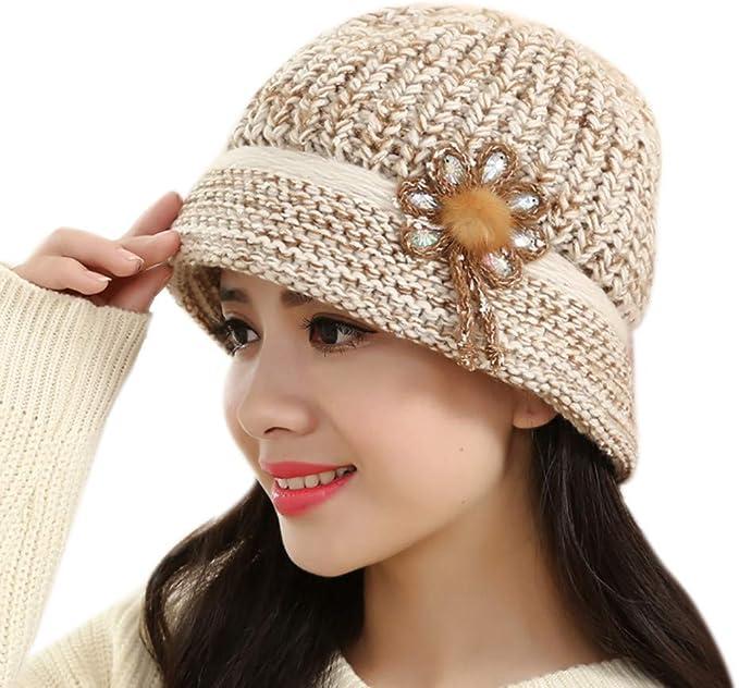 ALIKEEY Moda Mujer Flor Tejer Crochet Gorro Sombrero Invierno ...