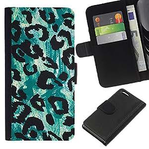 Planetar® Modelo colorido cuero carpeta tirón caso cubierta piel Holster Funda protección Apple iPhone 5C ( Leopard Green Black Pattern Fur )