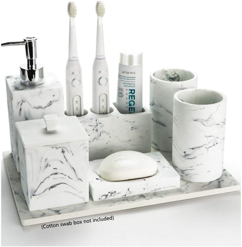 Amazon Com Fabax Durable Bath Accessory Set Bathroom Accessories Set Resin Marble Style Bathroom Soap Dispenser Toothbrush Holder And Tumbler Soap Dish Bathroom Accessory Sets Size 6pc Home Kitchen