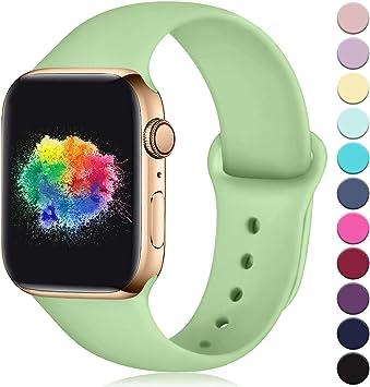 Imagen deYoumaofa Correa Compatible con Apple Watch 38mm 40mm, Correa de Silicona Repuesto Pulsera Deportivas para iWatch Series 5 Series 4 Series 3 Series 2 Series 1, 38mm/40mm S/M Menta Verde
