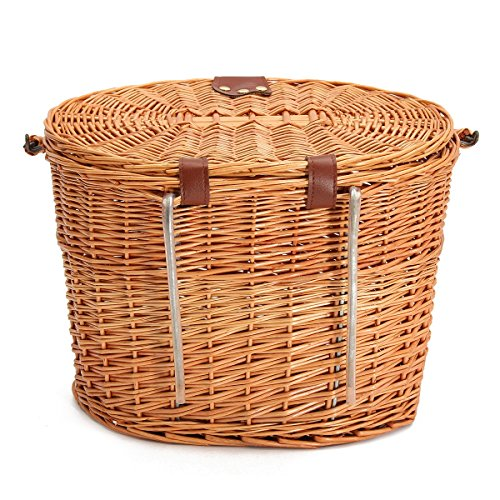 Kingso Wicker Front Handlebar Bike Basket Bicycle Front Box With