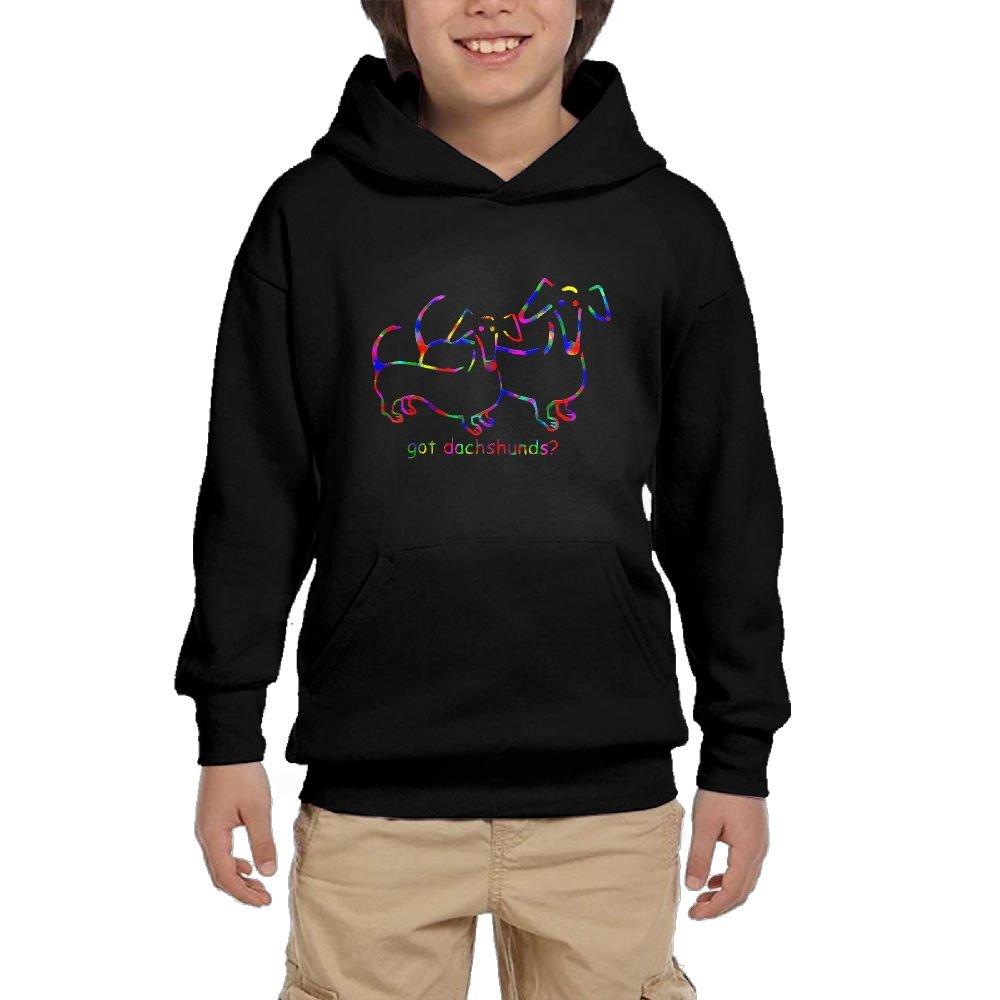 Youth Black Hoodie Got Dachshunds Hoody Pullover Sweatshirt Pocket Pullover For Girls Boys XL