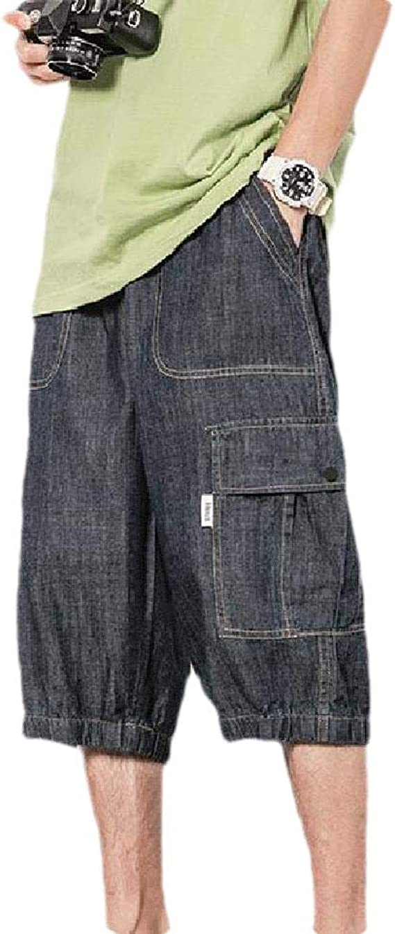 Candiyer Men Multi Pockets Oversized Cowboy Casual Leisure Washed Combat Trouser