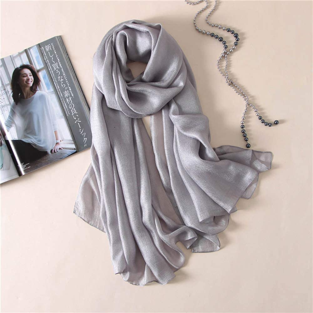 Silk Scarves for Women Ladies Shawls Gradient Color Purple Grey Simple Stylish Wraps Multi-use Scarves Luxury Gifts for Ladies by Voonlay loppasa 170 145cm