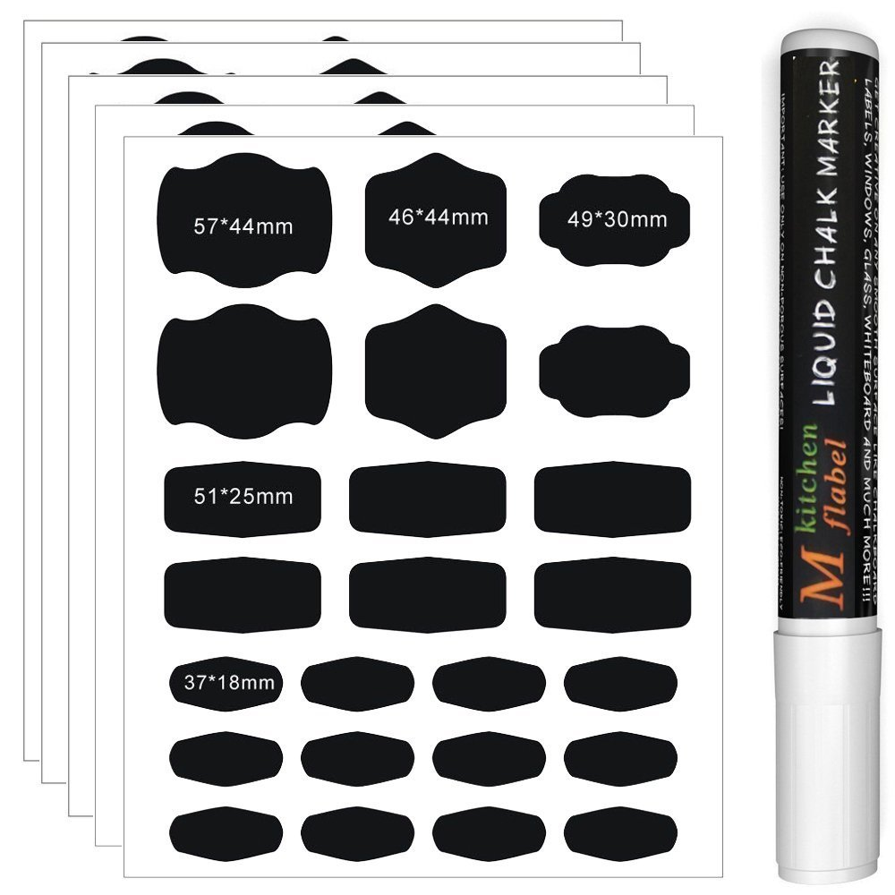 Chalkboard Labels 120pcs Reusable Chalkboard Stickers with 3MM White Chalk Marker for Labeling Jars, Canisters and Organize Your Home, Kitchen and Office CiaraQ