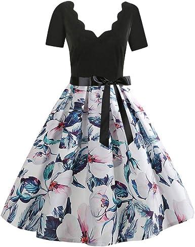 Vestiti Eleganti Su Amazon.Ginli Vestito Donna Elegante Donna Senza Maniche Stampa Moda