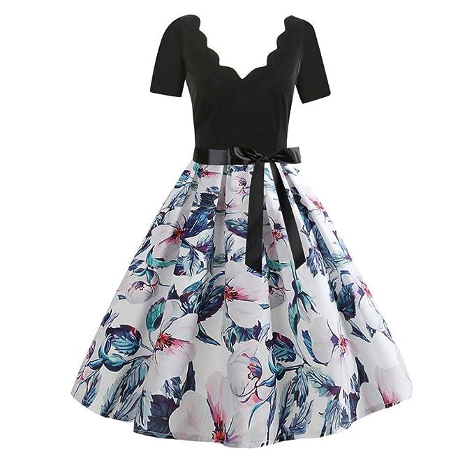 check out 54239 00037 Ginli Vestito Donna Elegante Donna Senza Maniche Stampa Moda Vestiti  Vintage Flare Abito Vestito Donna Manica Lunga da Cerimonia Audrey Hepburn  Abito