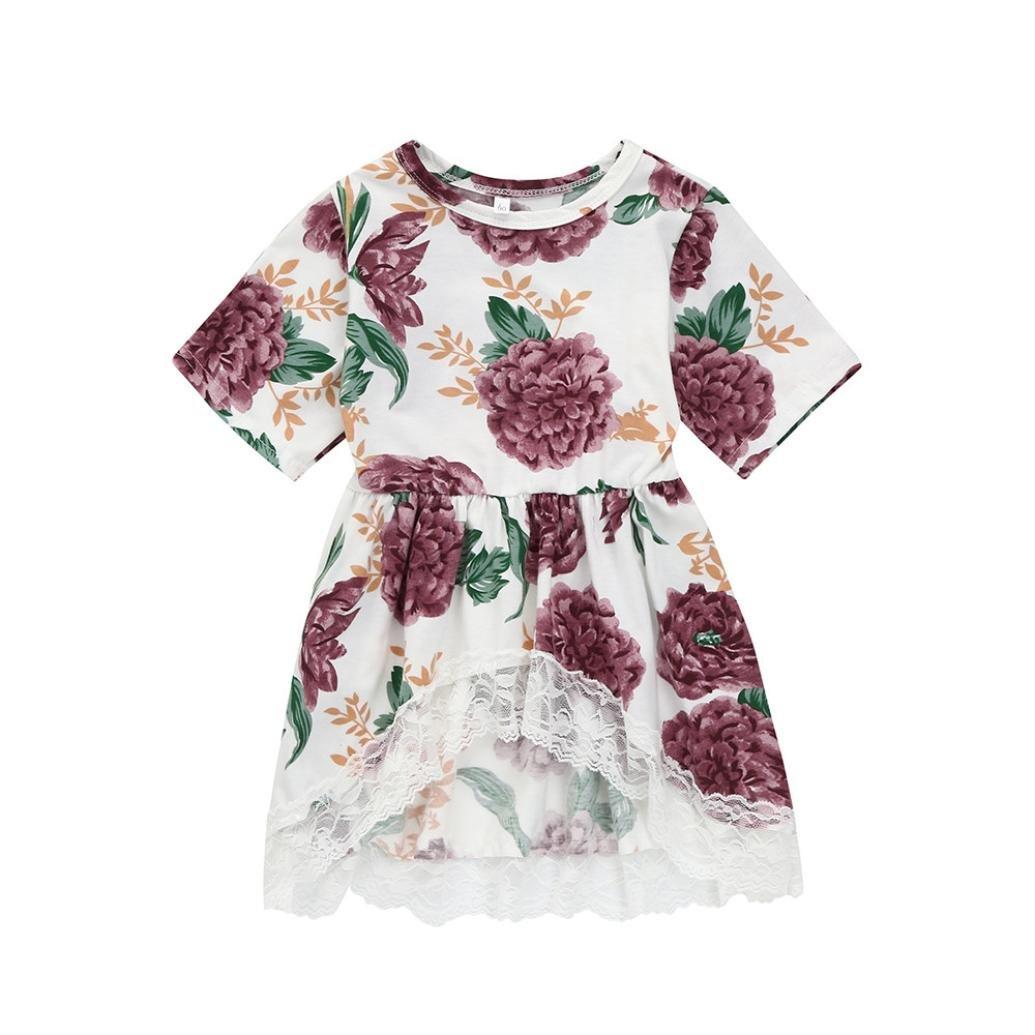 Tpulling Fille Florale Dentelles Robe de Partie irrégulière Princesse [ Fille Robes Manches Courtes ]