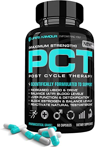 PCT by Life s Armour High Potency Estrogen Blocker Natural Test Booster Supplement to Block Estrogen, Reactivate Testosterone, Detoxify Liver, Boost Libido for Post Cycle Therapy