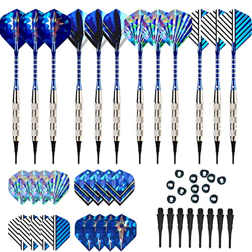 (Bullout Professional Soft Tip Darts Set,12 Pcs 18g Plastic Tipped Dart, Stainless Steel Metal Barrels, Blue Aluminum Rods Shafts, 24 Flights(6 Style), 60 Safety Tip Points For Electronic Dartboard)