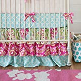 Carousel Designs Kumari Garden Crib Skirt Three Tier 18-Inch Length