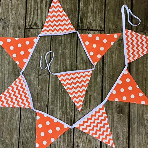(Handmade Orange Fabric Banner for Classroom Party Porch or Tailgate)