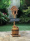 Planters Garden Decor Welcome Sign Rustic Birdhouse Barrel Planter Chalkboard Outdoor Garden Yard Wood