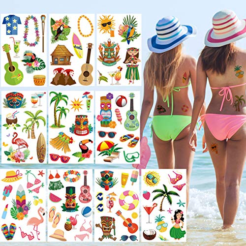 Luau Hawaiian Themed Temporary Tattoos(90Pcs),Tropical Waterproof Tattoos for Hawaiian/Beach/Flamingo/Summer Pool Party,Tropical Aloha Party Decoration Supplies for Kids and Adults