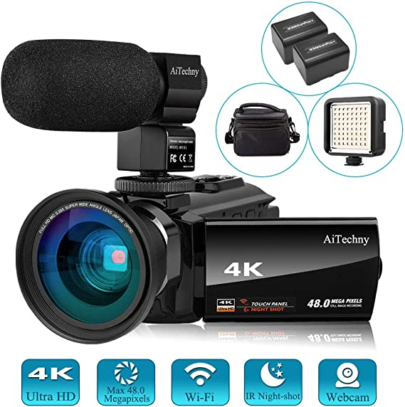 Video Camera 4K Camcorder Vlogging Camera for YouTube AiTechny Ultra HD 48MP Digital WiFi Camera 3.0