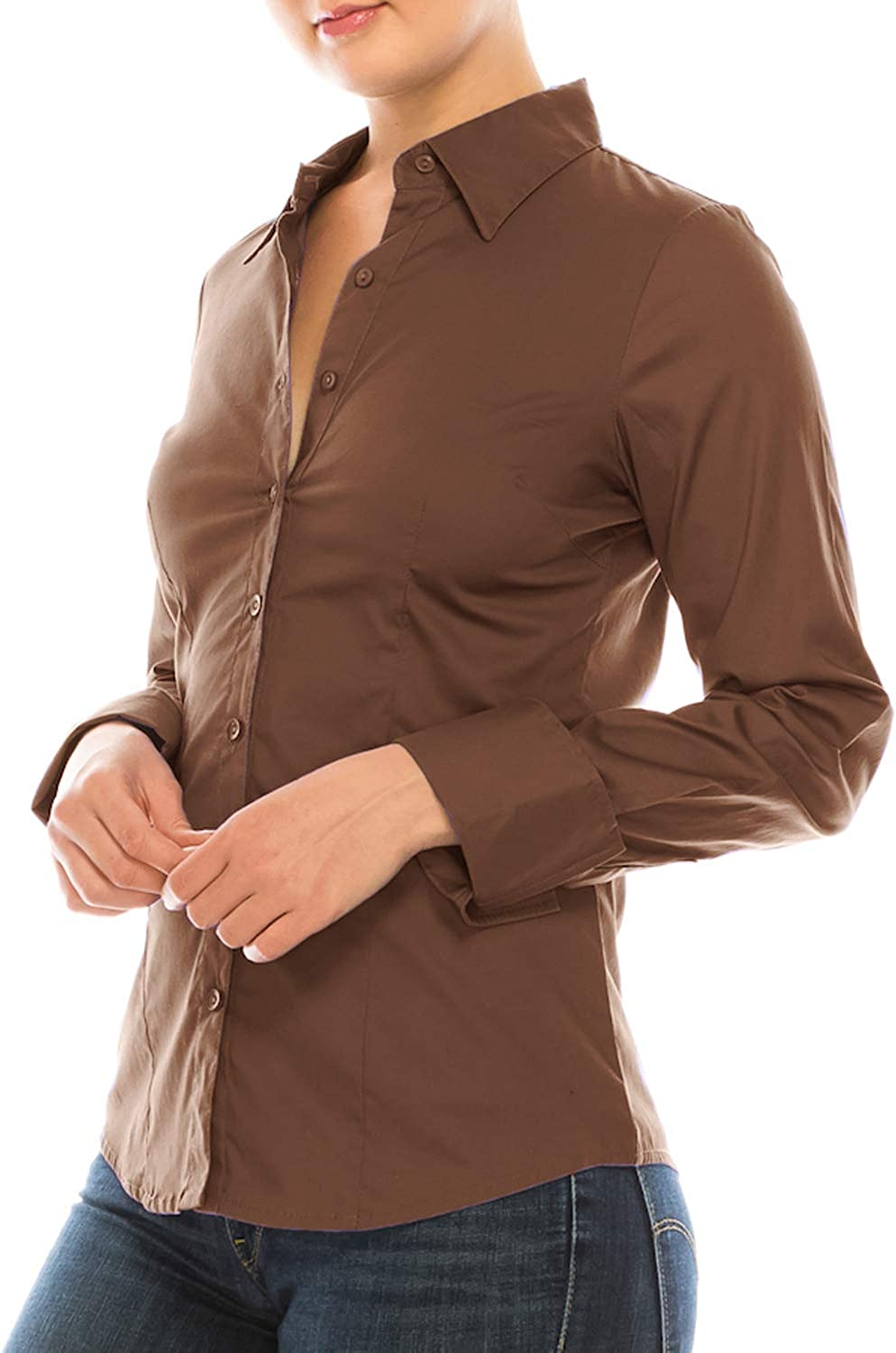 MAYSIX APPAREL Long Sleeve Stretchy Button Down Collar Office Formal Casual Shirt Blouse for Women Fit (XS-3XL)