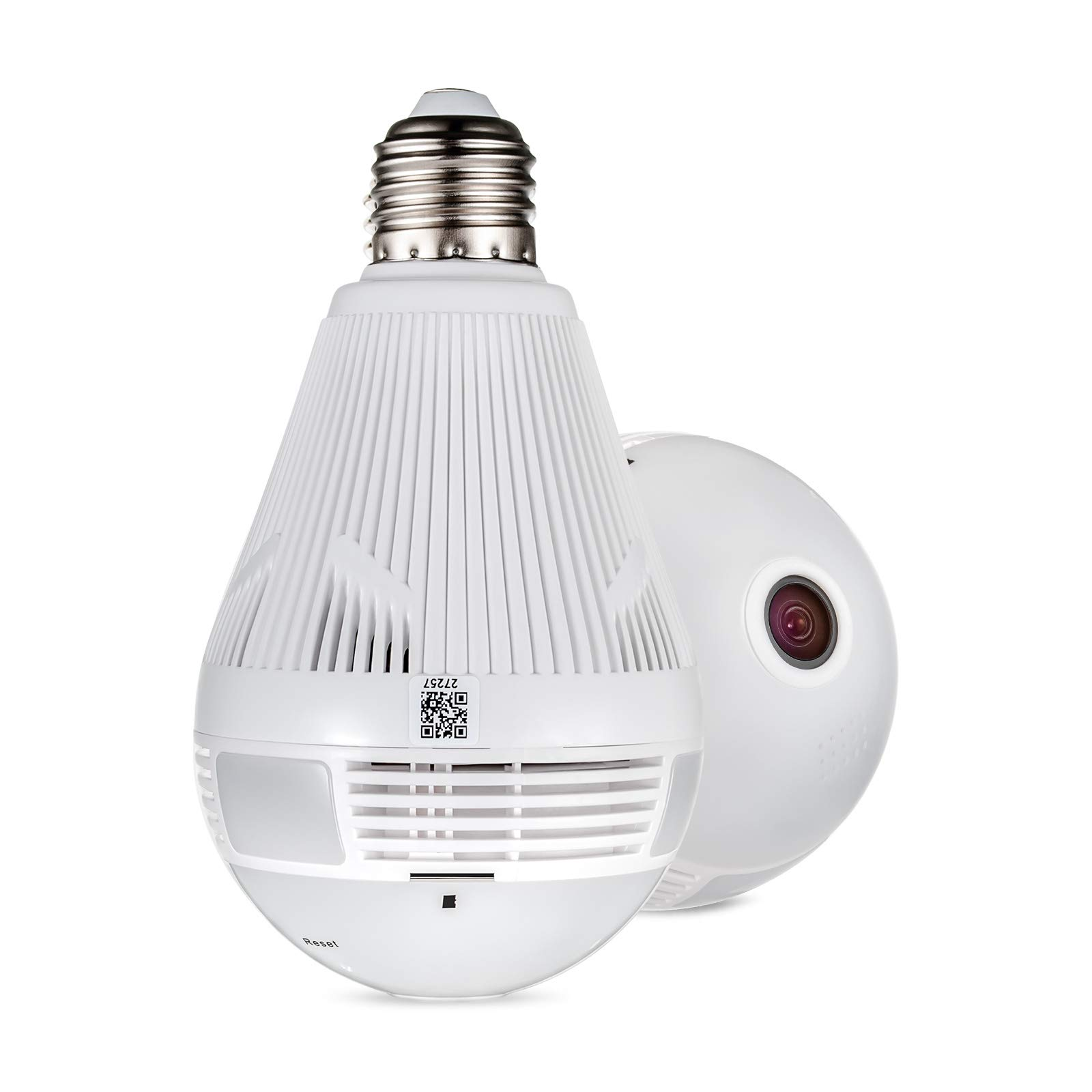 FUERS 360 Degree WiFi Panoramic Bulb Camera IP Security Surveillance Camera for Home Wireless Remote View Baby Pet Motion Detection Light Bulb VR Camera with Night Vision/Two-Way Audio,Support 2.4G