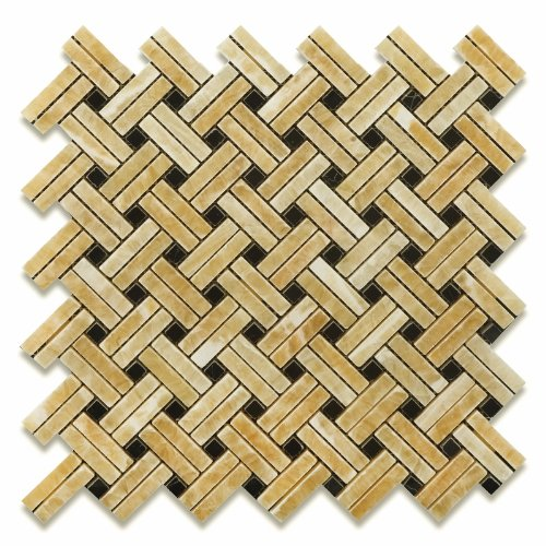 Honey Onyx Stanza Basketweave Mosaic with Black Dots, Polished - Box of 5 sq. ()