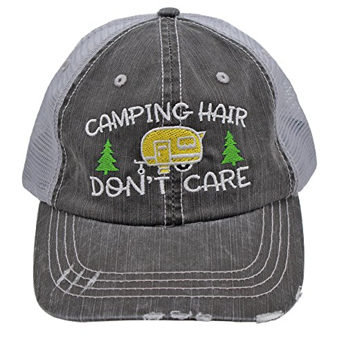 Sun Nowa Yellow Camping Hair Don't Care Women Embroidered Trucker Style Cap Hat
