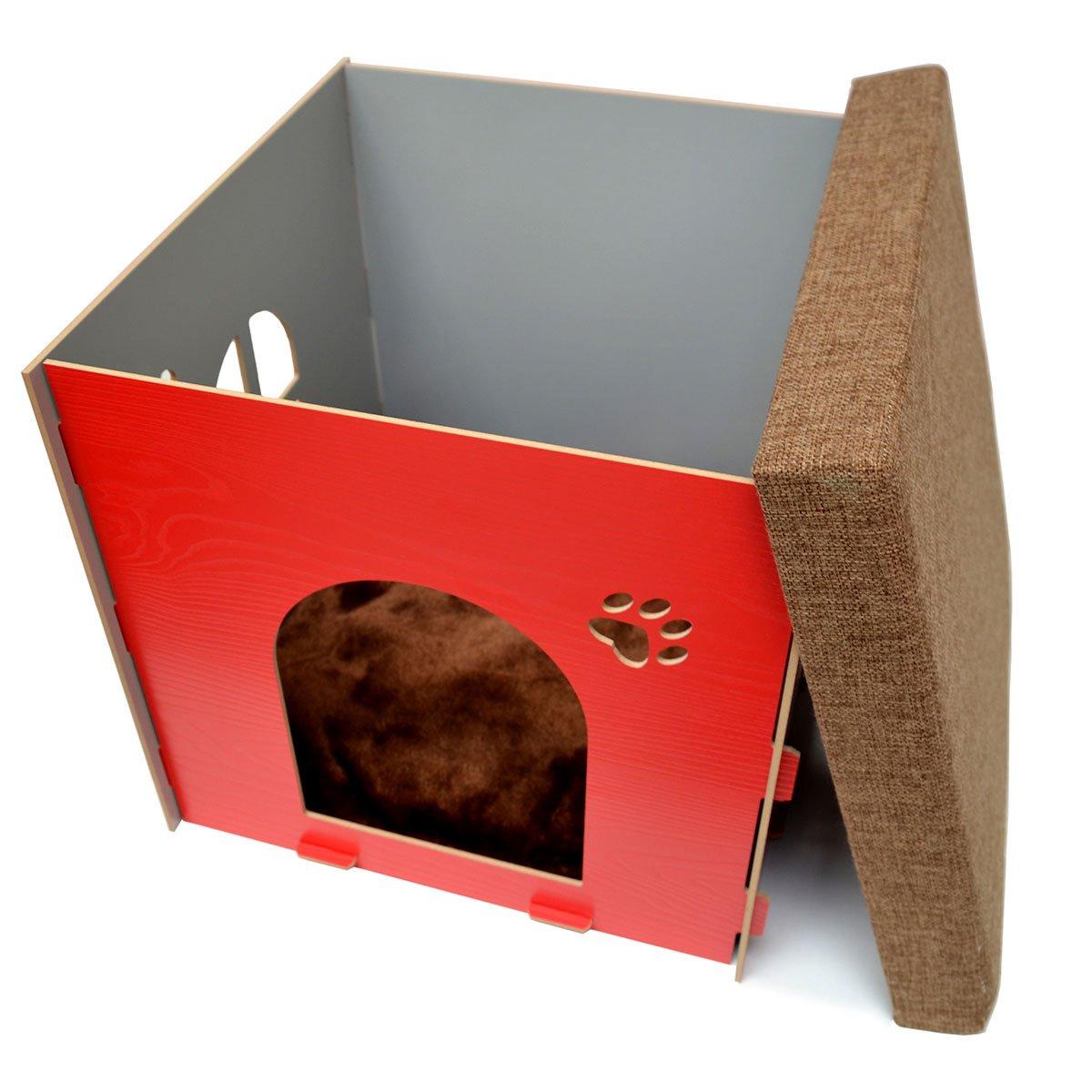 eyepower Caseta pequeña para Perro Gato 38x38x38cm cama caja cuadrada S para mascota con tapa acolchada para sentarse puf escabel Rojo: Amazon.es: Hogar